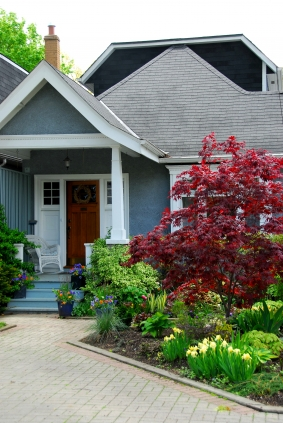 home-curb-appeal-landscape-photo-photos-blue-house-garden-walkway